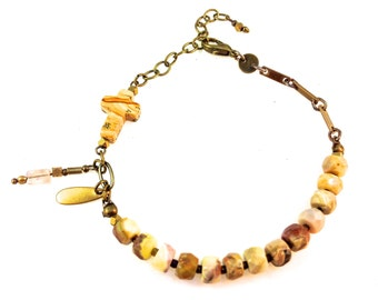 Facetted Natural Opal Bracelet (Tan Variations) with Tourmaline and Jasper Cross and Brass Findings