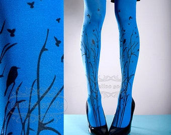 Tattoo Tights -  blue one size Forest Symphony full length closed toe printed tights pantyhose, tattoo socks, printed nylons