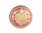 Vintage Gemini Zodiac Sign Golden Pink One of a Kind ring