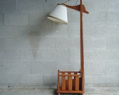 Vintage Wood Floor Lamp and Magazine Rack Combo
