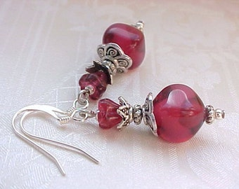 Mothers Day Cranberry Glass Earrings Collector Cranberry Earrings Berry Earrings French Inspired Earrings Cranberry Red Earrings Czech Beads