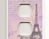 Double Socket Plate - Lavender Paris Eiffel Tower and Love Letters