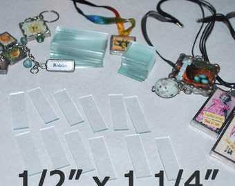 100 Pack - 1/2 inch x 1-1/4 Inch Rectangles .5 x 1.25 Clear Pendant Memory Glass for Collage Altered Art Soldered Jewelry.