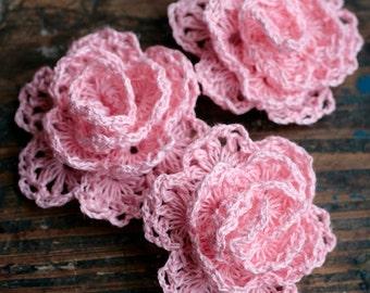 Crochet Linen Rose Brooch - pink