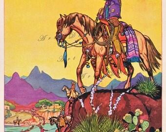 vintage western illustration, cowboy on horse, vintage printable digital image no. 985