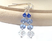 Stacked Ombré Blueberry Reversed, Dangle Earrings, Plus Size Jewelry