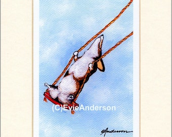 "Evie Anderson Welsh Corgi Art SIGNED PRINT ""Swish!""  (quality, signed, matted) Pembroke Dogs"