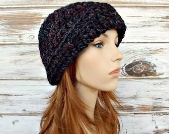 Crochet Hat Womens Hat 1920s Flapper Hat - Garbo Cloche Hat in Blackstone Black Charcoal Grey Wine - Grey Hat Womens Accessories Winter Hat