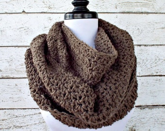 Circle Scarf Crochet Cowl Scarf - Rainier Cowl Taupe Scarf Taupe Cowl Brown Scarf Brown Cowl Womens Accessories - READY TO SHIP