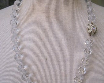 Vintage Glass Beaded Necklace, One-of-a-Kind Clasp