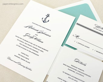 "Anchor Wedding Invitation, Navy Anchor Wedding Invitations, Nautical Wedding Invitation, Sailing Wedding Invitation, ""Anchor""- Sample Set"