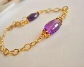 Amethyst Bracelet,  Gold Bracelet, Gold Link Bracelet, Gemstone Bracelet, Beaded Bracelet
