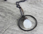 Rainbow Moonstone Necklace, Gemstone Necklace, Black Oxidized, Sterling Silver, Circle Necklace, White Necklace, Wire Wrap, Pendant Drop