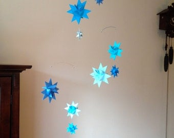 Baby Crib Mobile Origami Paper Stars -'Carina' Blue Shades