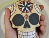 Compass Rose Nautical Star Sugar Skull Day of the Dead Ornament - Original Folk Art Skeleton- Printed and Stuffed Fabric