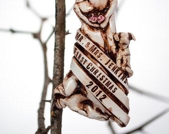 Wedding Ornament, Newlywed's First Christmas Ornament with Pets Custom Wedding Ornament