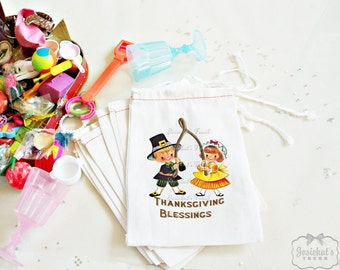 Thanksgiving Favor Goodie Bag Childrens Party Dinner Vintage Custom 4X6 10 count or 6X8