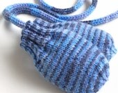 Thumbless Mittens. No Thumb Baby Mittens With Coat String. Handknit Infant Mitts. Boy 6 to 9 Months. Winter Hand Warmers. Blue Stripe Gloves