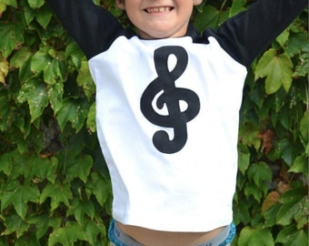 Musical Treble Clef Baseball Raglan for Piano Violin Flute Cello Guitar Lessons Students Notes Books Children Sizes