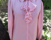 Vintage silky wash and wear pink jabot-front peter pan collar blouse