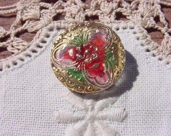Dainty Golden Pink Orchid Czech Glass Button