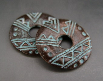 Tribal Circle Disk Charm Pair Mykonos Greek Copper Antiqued Green Turquoise Naos
