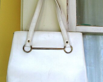 Vintage White Leather Retro Vinyl Handbag Purse