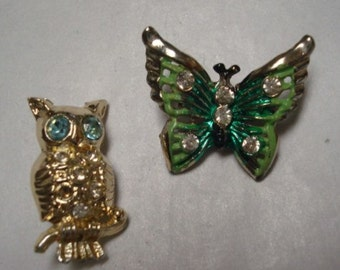 Two Vintage Animal Owl and Butterfly Rhinestone Brooches Lot 216