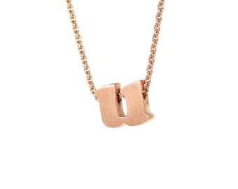 u - block letter initial necklace