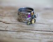 Personalized Gemstone Rings {Cabochon, Birthstone, Stacking Ring, Rustic, Hand Stamped, Customized, Adoption}