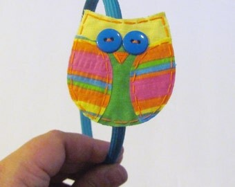 Handmade Fabric Owl Alligator Clip with Headband,Owl Clippie, Neon Owl, Florescent Owl Clippie, Turquoise Headband, Ready to Ship