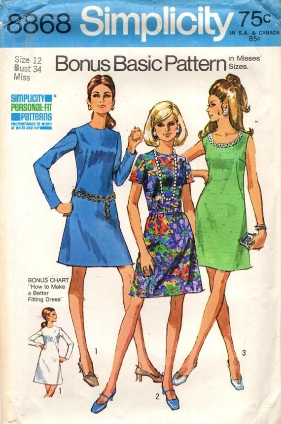 Simplicity 8868 A Line Shift Dress Size 12 Bust 34 VINTAGE - photo#9