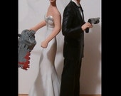 Custom Back to Back Zombie Hunters Wedding Cake Toppers Figure set - Personalized to Look Like Bride Groom from your Photos