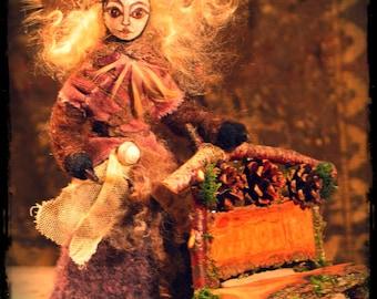 Fae doll poseable faerie queen custom order, fairy doll, dollhouse doll, fairy house, dollhouse, art doll