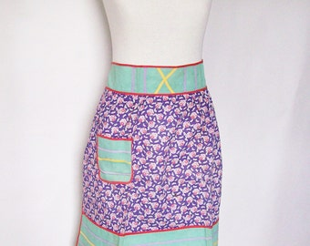 Vintage Half Apron Handmade Cotton Flour Sack Fabric Cottage Kitchen