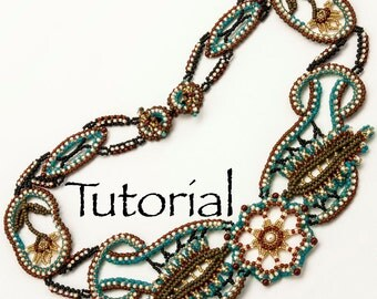 Seed Bead Lace Necklace Desert Rose - Advanced Tutorial Digital Download