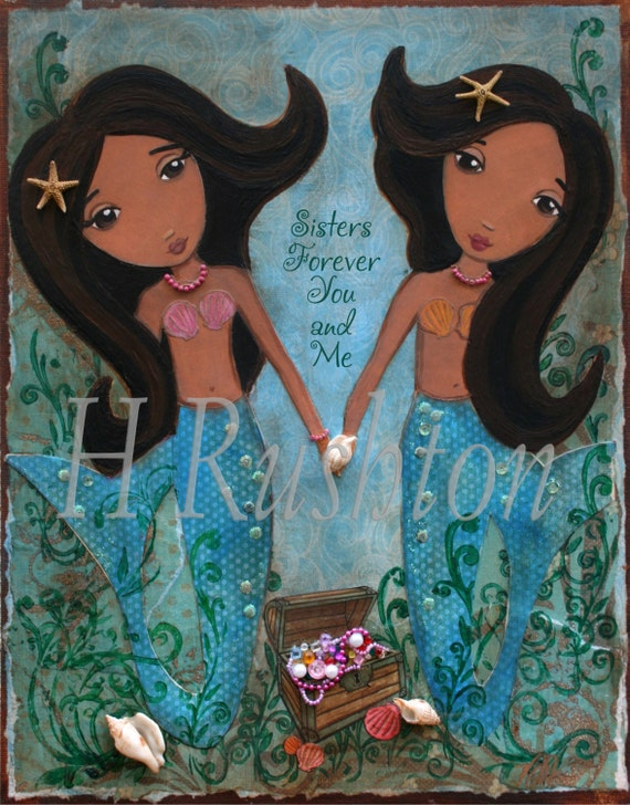 Mermaid Wall Art 8x10 Children Decor Mixed Media Sisters