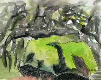The MOSSY stone //  archival ink / watercolours / shrubs / sunny spots
