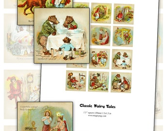 """Classic Fairy Tales 1.5"""" square inchies digital collage sheet 38mm square"""