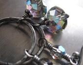 Black Diamond Crystal Earrings, Charcoal Oxidized Sterling Silver Circle Hoop Earrings, Grey Gray Crystal, Geometric Modern Jewelry - UNION