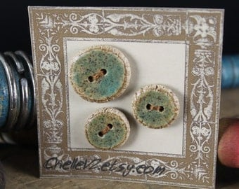 Handmade stoneware ceramic sew on buttons Rustic Green (3)