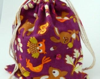 Woodland Animals Drawstring Bag, Deer, owl, rabbit, bird drawstring bag, crayons storage bag, reusable snacks bag, Children drawstring bag