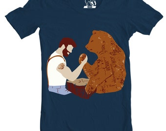 Mens Arm Wrestling T-Shirt, Men's Tee, Beard vs. Bear, Funny graphic tees, Animal T Shirt For Him, Present to guys boyfriend husband, S-3XL
