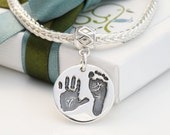 Silver Handprint Footprint Charm on large hole bead carrier, Personalised with Baby Handprint, footprint jewellery, Round Charm