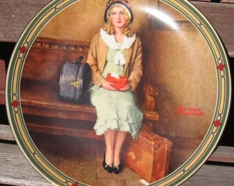 Norman Rockwell plate Traveling Woman at Train Station 1985