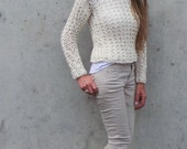 ivory white Sweater / v neck white sweater