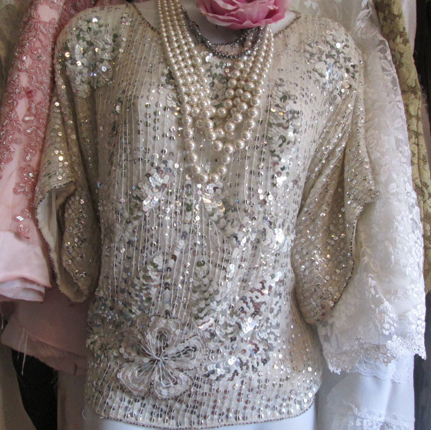 Off White Cream Satin Vintage Beaded Sequin Lace Bridal: White Sequin Blouse Vintage Silk Chiffon Top By