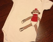 Organic Cotton Onesie - Hand Screen Printed American Apparel Baby Onesie - Sock Monkey - Eco Friendly You pick size