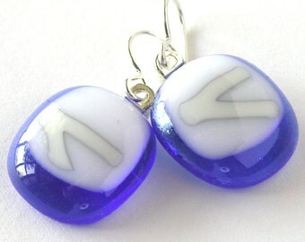 Sapphire Blue glass drop earrings . Milky White and Soft Grey - Reactive Glass . Dense white . Fine Craft Jewelry