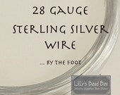 Thin Silver Wire, 28 Gauge Sterling Silver Wire, By The Foot, Half Hard Round Wire, Wire Wrapping, Delicate Wire